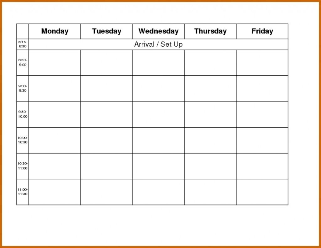 Best Of Printable Monday Through Friday Calendar | Free