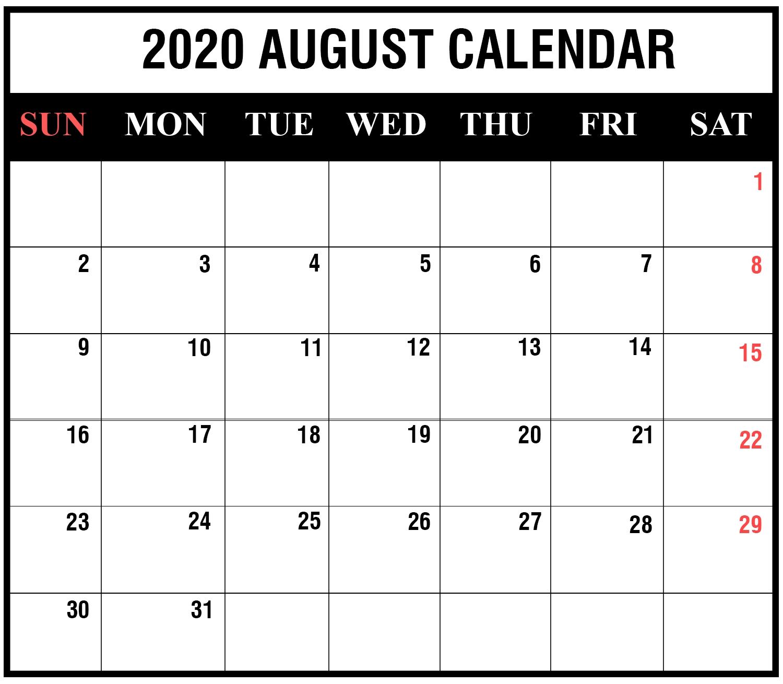 Blank August 2020 Calendar Editable In 2020 | August