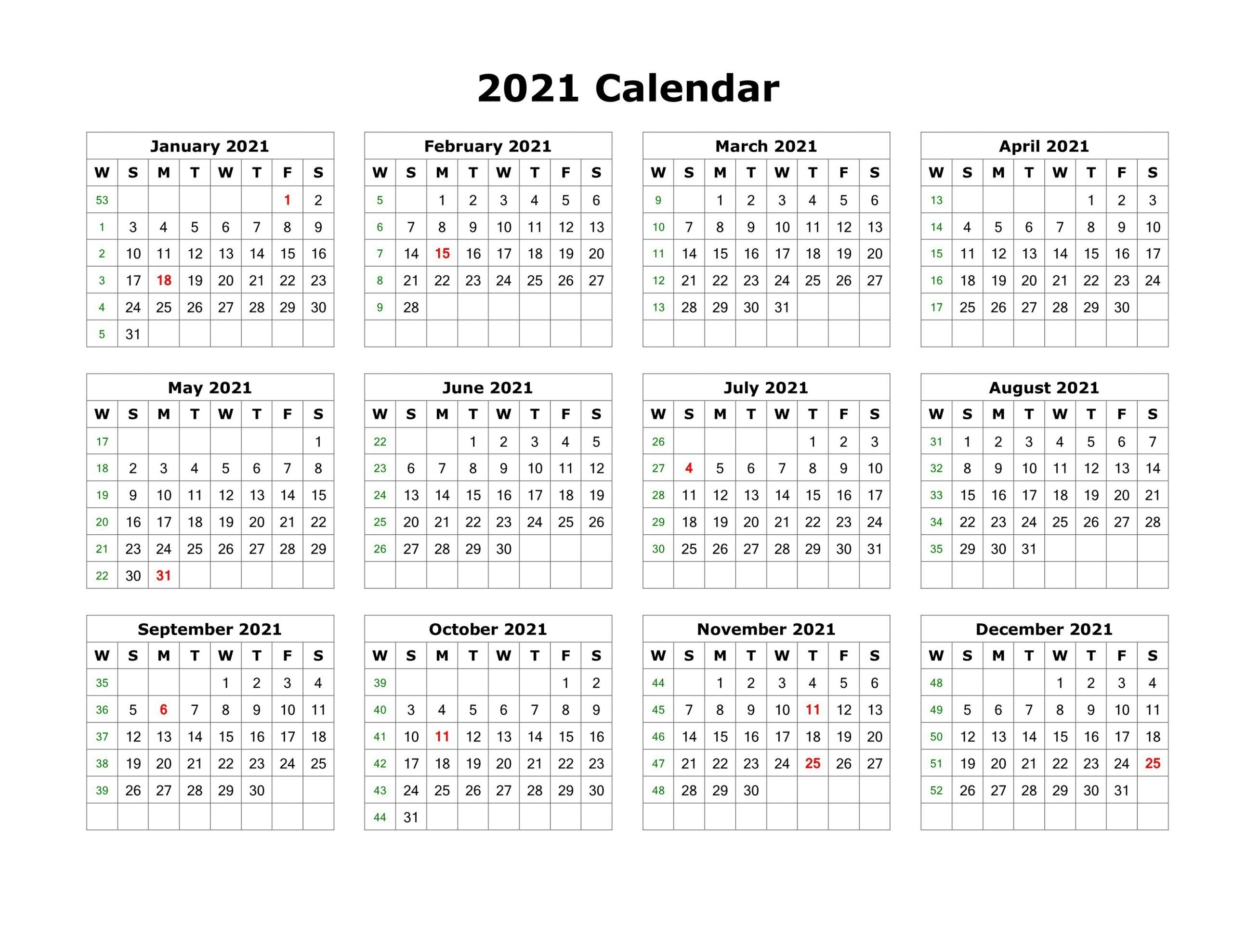 Blank Calendar Template Word 2021 Various Months In 2020