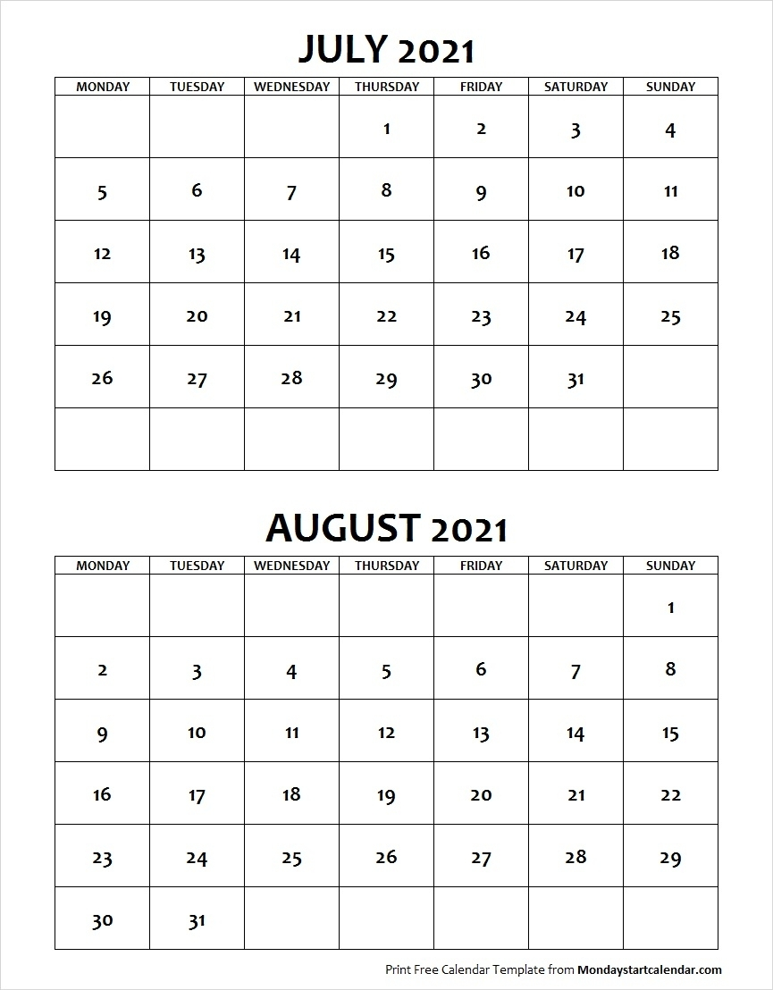 Blank July August 2021 Printable Calendar Archives - Monday