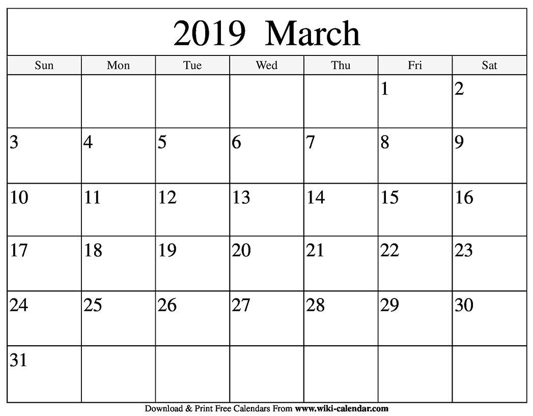 Blank March 2019 Calendar | June Calendar Printable, March