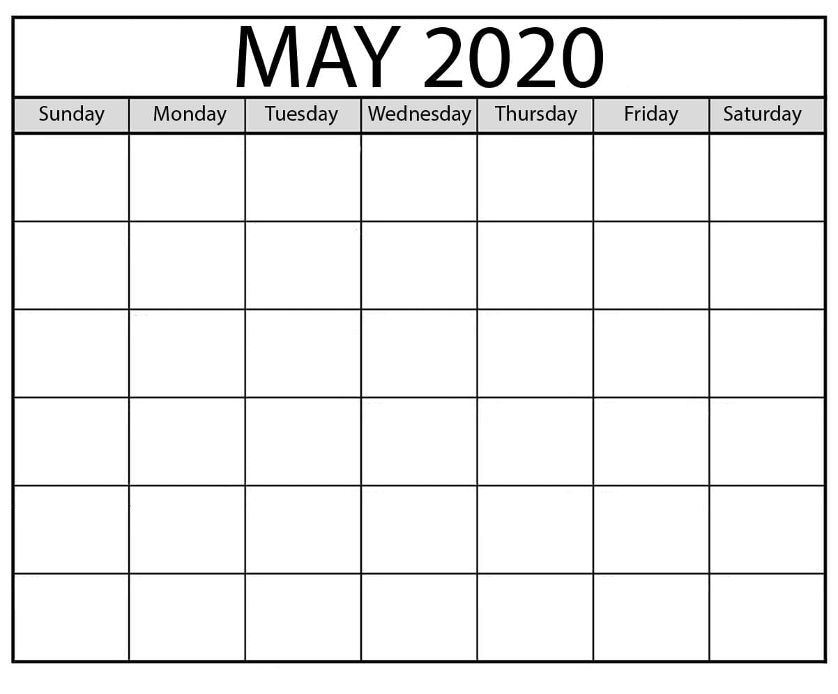 Blank May 2020 Monthly Calendar Printable Templates