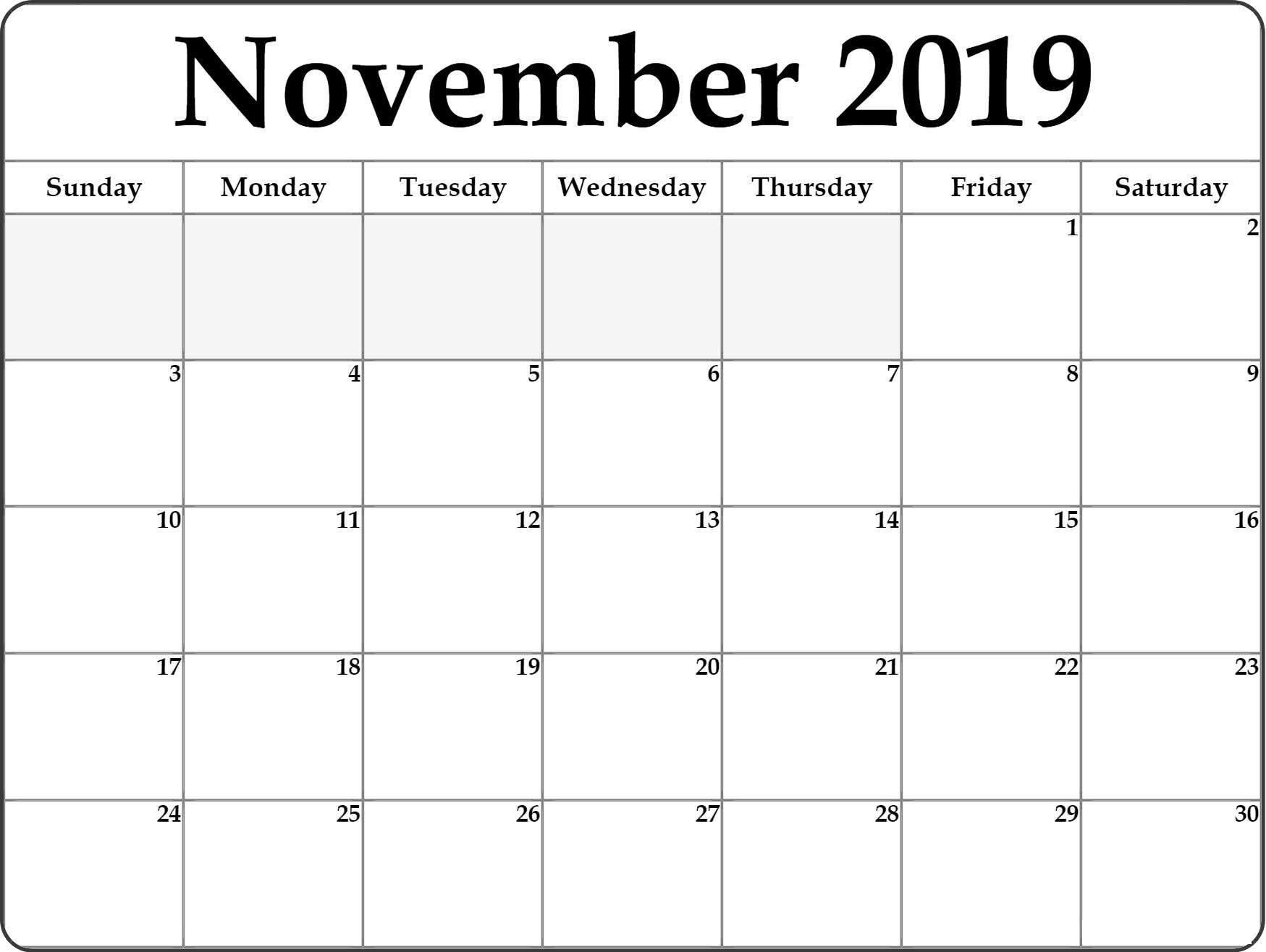 Blank November 2019 Calendar Large Print - Printable