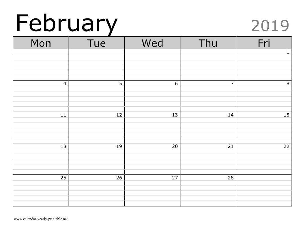 Blank Printable February 2019 Calendar - Calendar Yearly