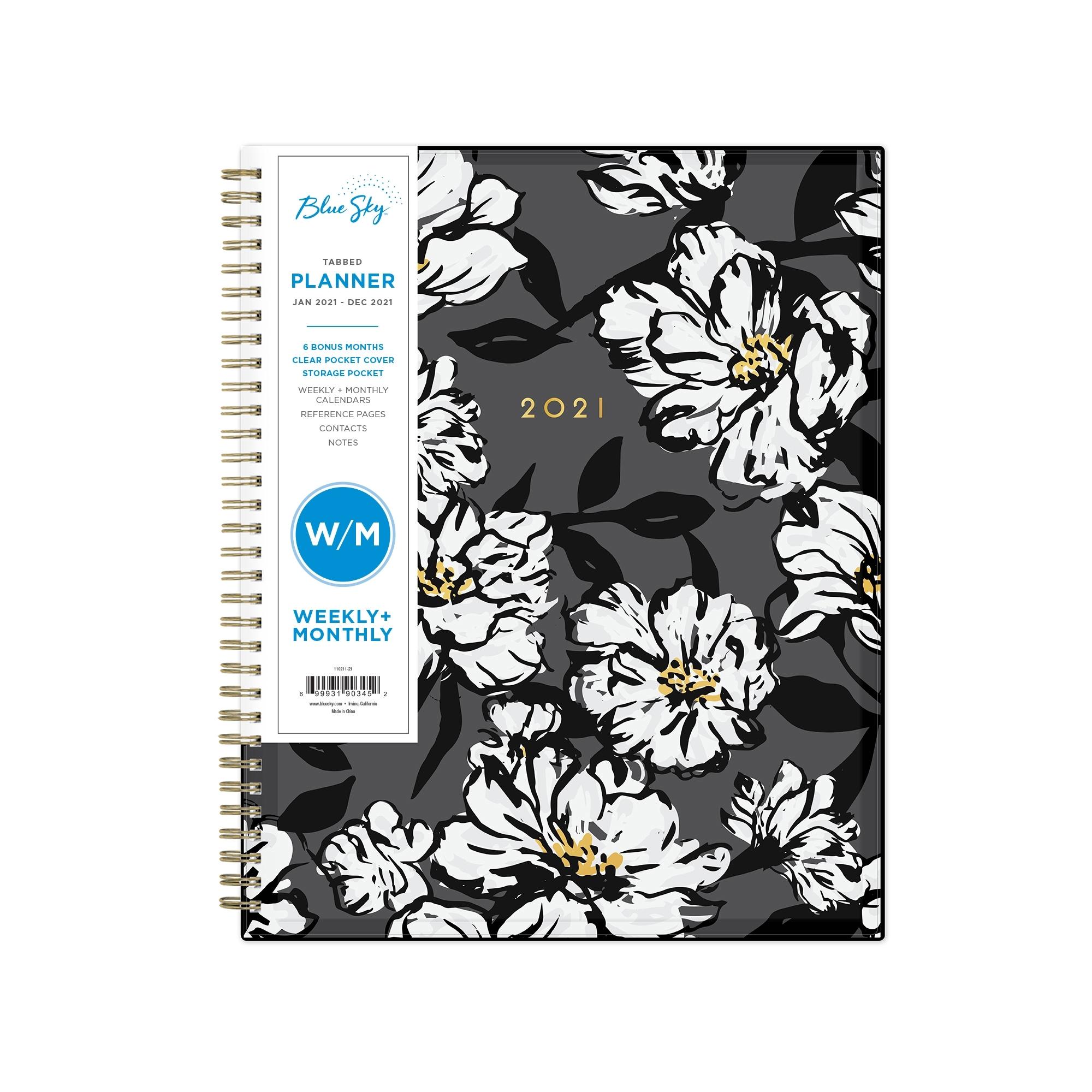 """Blue Sky 2021 Weekly & Monthly Planner, 8.5"""" X 11"""", Baccara Dark -  Walmart"""