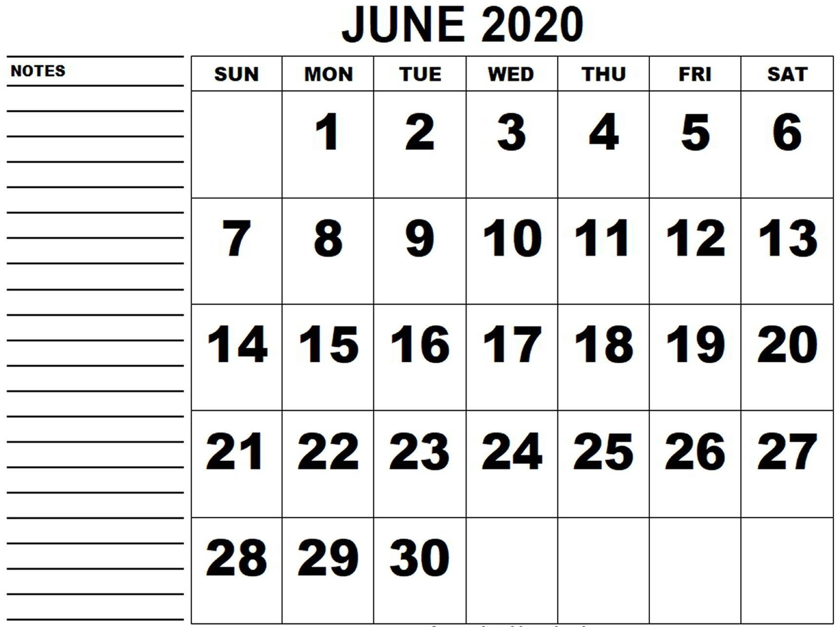 Bold And Simple June 2020 Calendar In 2020 | Free Printable