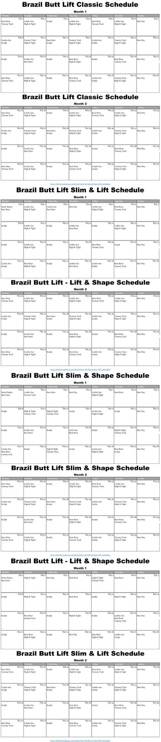 Brazil Butt Lift Calendar - Download