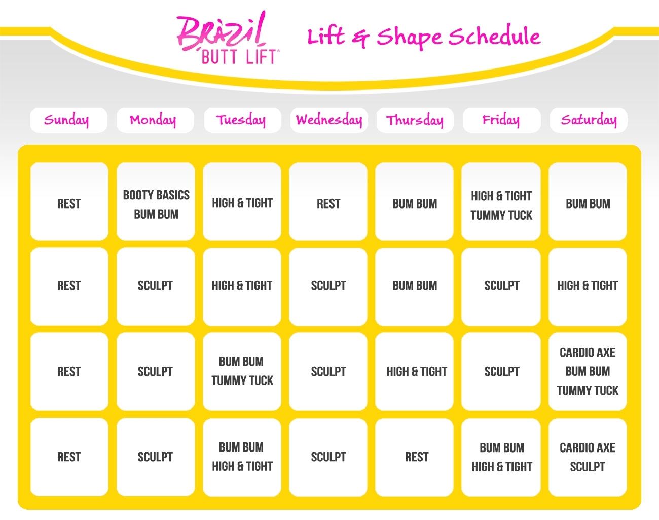 Brazilian Butt Lift Workout Schedule | Slim In 6 Calendar