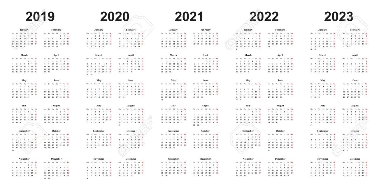 Calendar 2019, 2020, 2021, 2022, 2023, Black Letters On White..