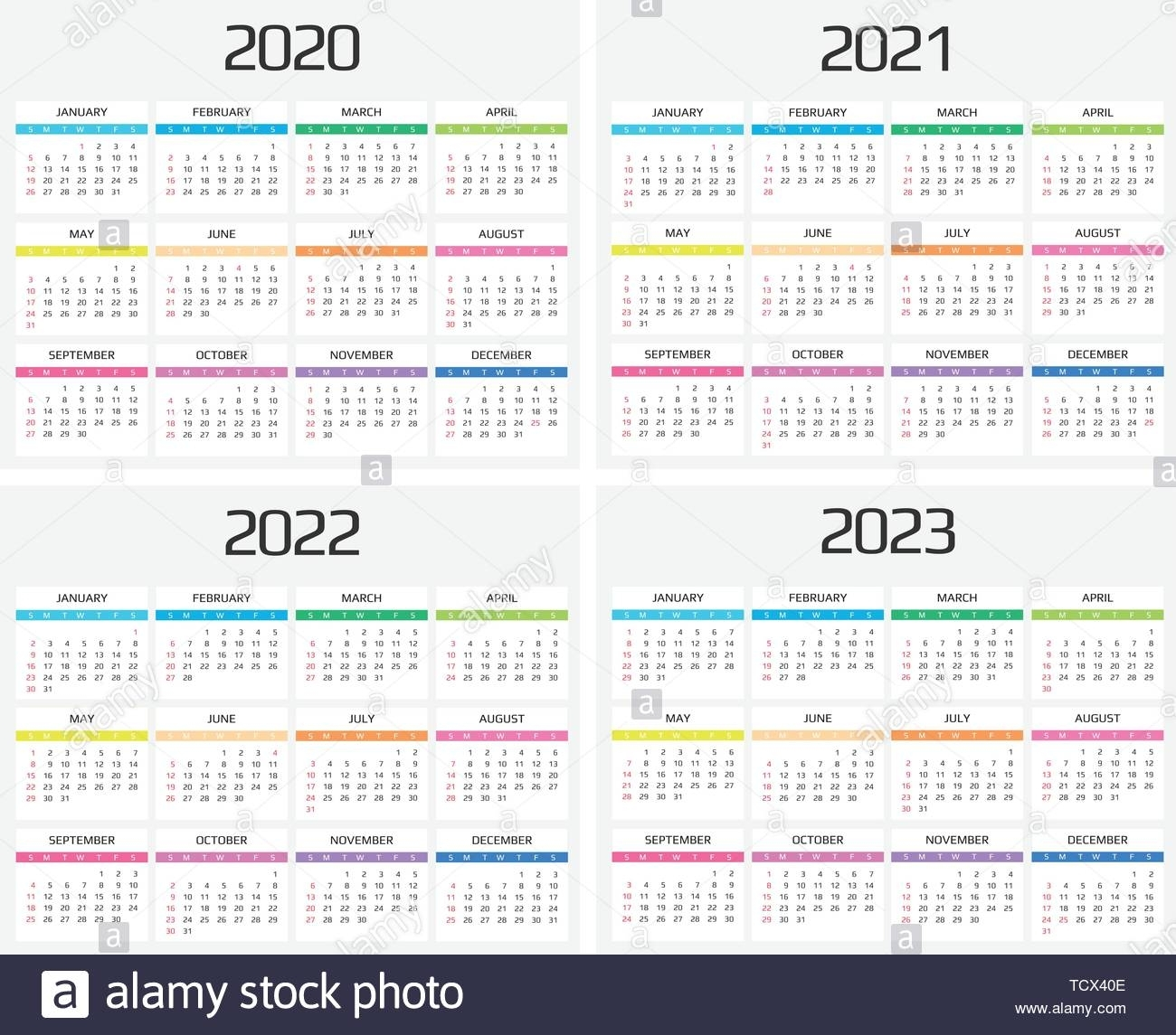 Calendar 2020, 2021, 2022, 2023 Template. 12 Months. Include
