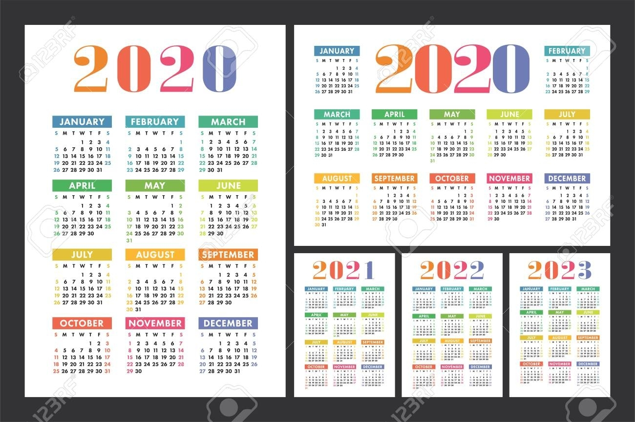 Calendar 2020, 2021, 2022 And 2023. English Color Vector Set