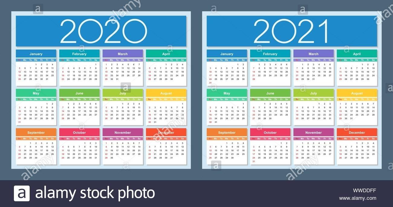 Calendar 2020, 2021. Colorful Set. Week Starts On Sunday