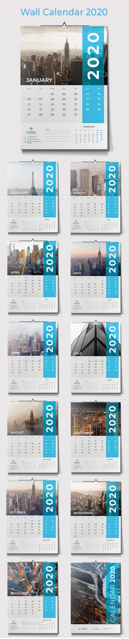 Calendar 2020 Graphics, Designs & Templates From Graphicriver