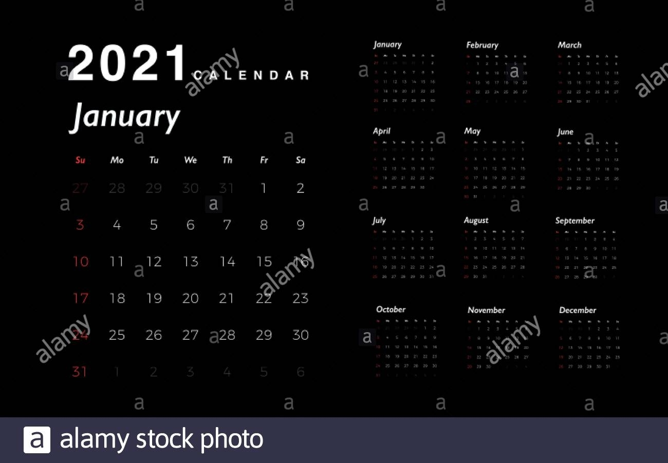 Calendar 2021 New Year. White Numbers Of Days With Red