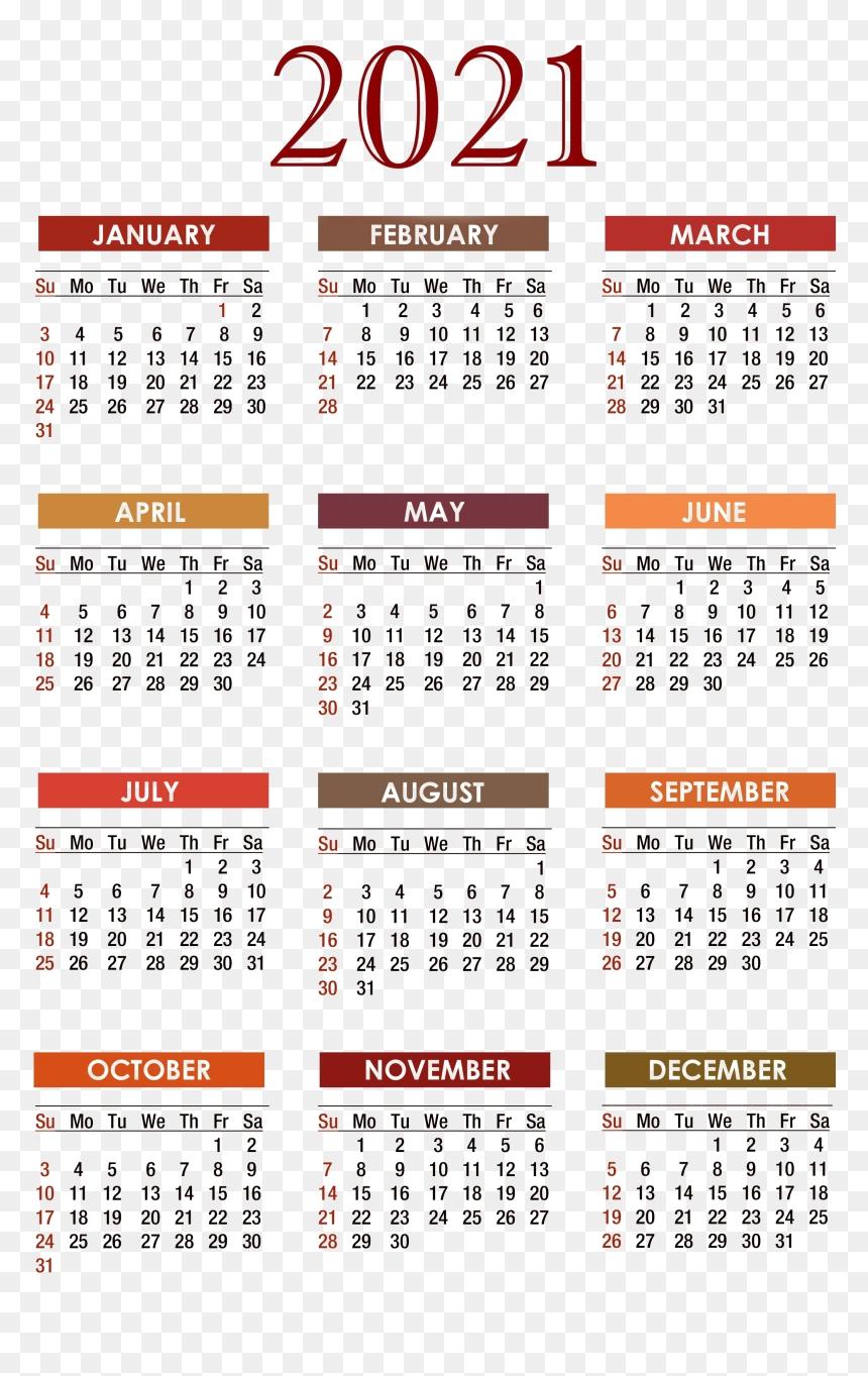 Calendar 2021 Png Free Download - Calendar, Transparent Png