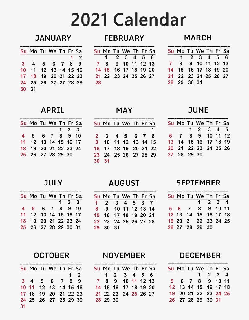 Calendar 2021 Png Free Download - Free Printable 2021