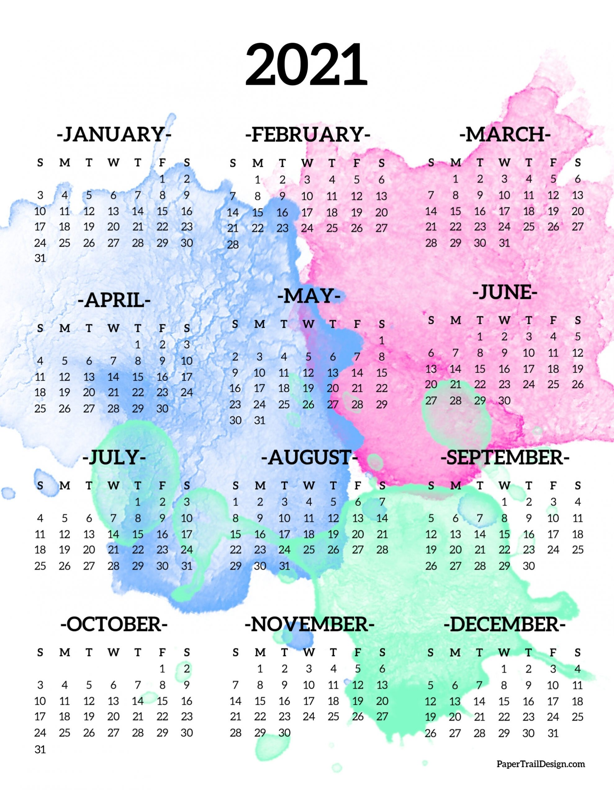 Calendar 2021 Printable One Page   Paper Trail Design