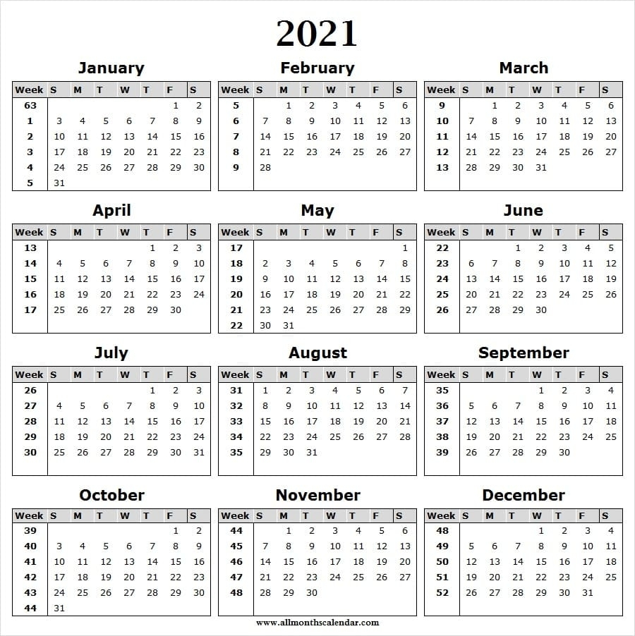 Calendar 2021 Week Wise - Full Year Calendar 2021 Year