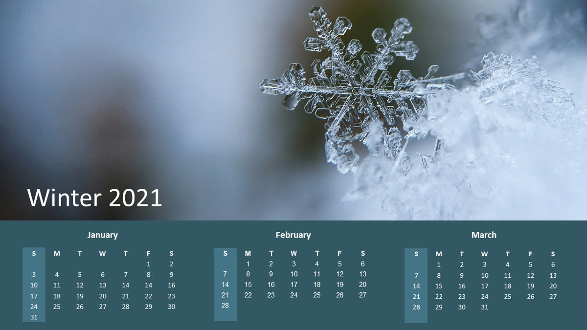 Calendar 2021 Year For Presentations - Free Presentation