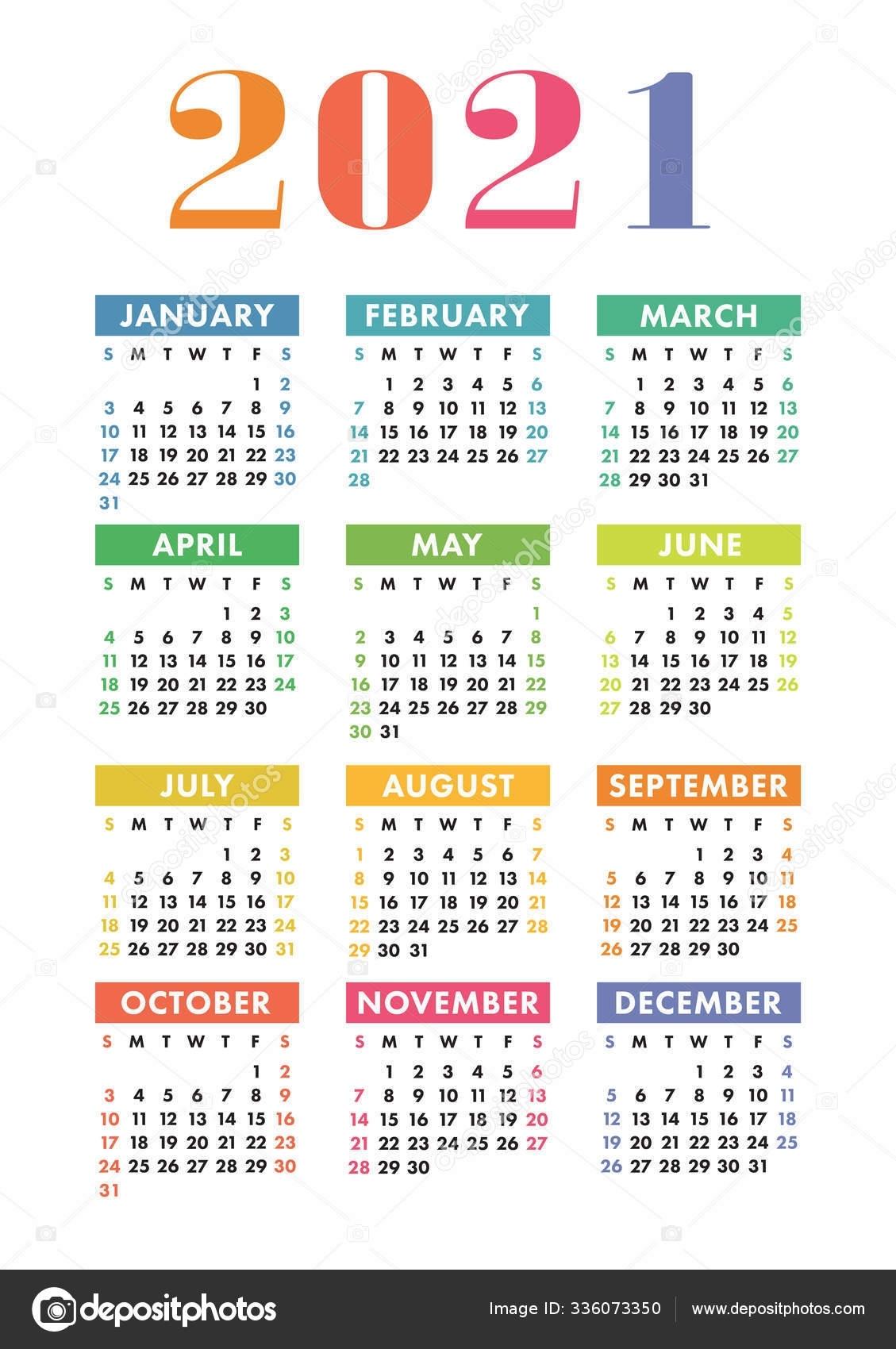 Calendar 2021 Year. Vector Kid'S Pocket Or Wall Calender Templat 336073350