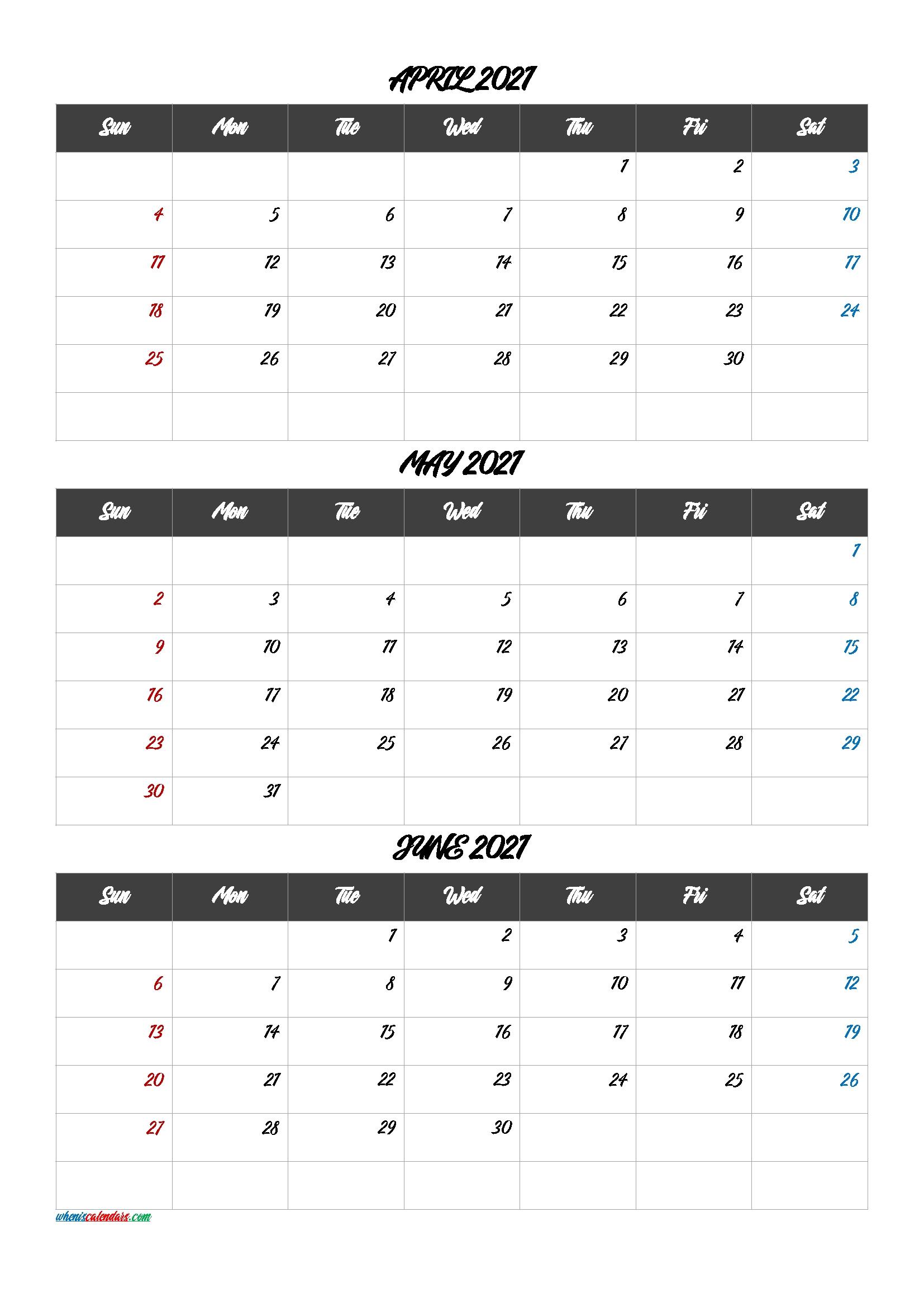 Calendar April May June 2021 [Q1-Q2-Q3-Q4] – Free Printable