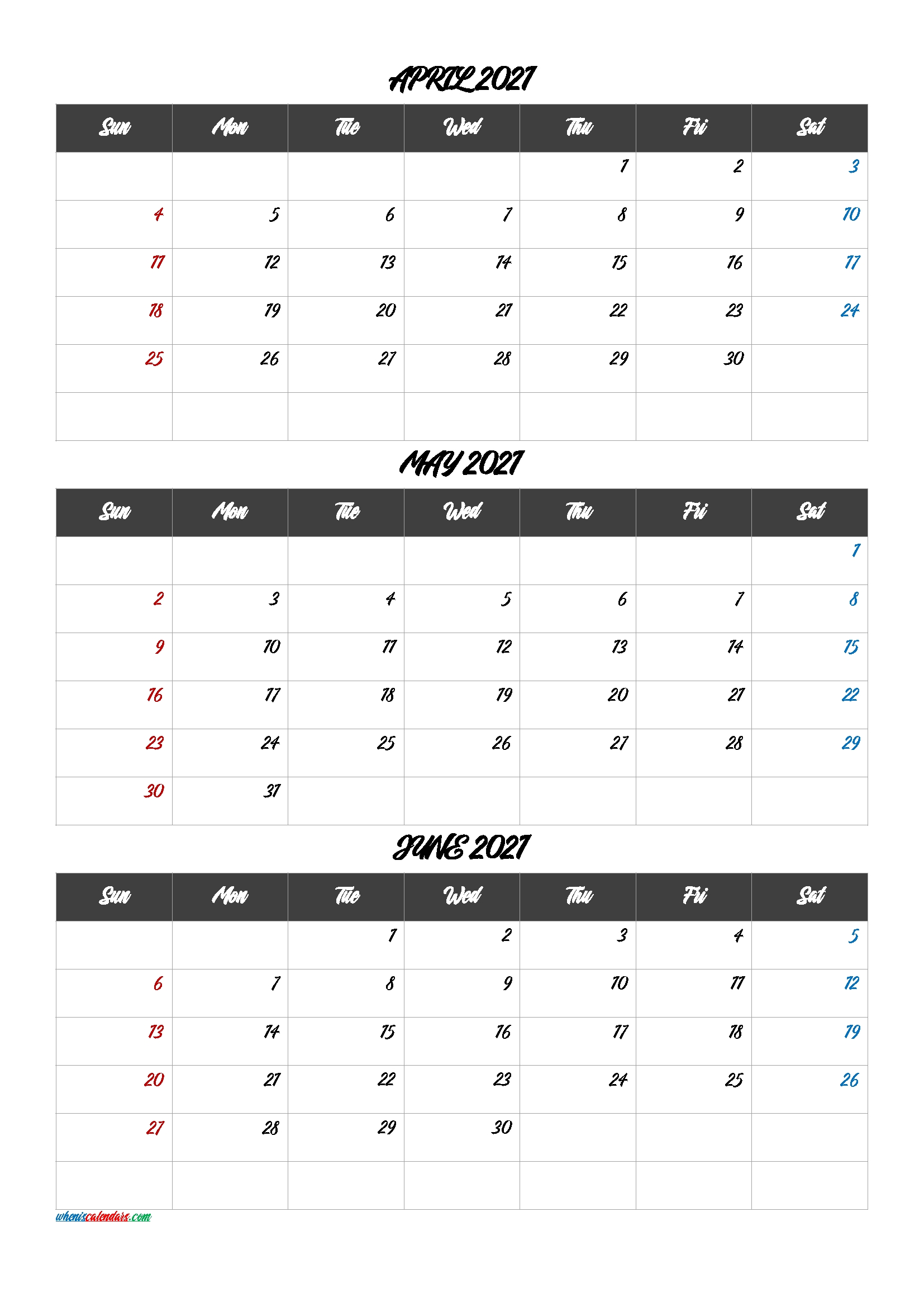 Calendar April May June 2021 [Q1-Q2-Q3-Q4] – Free Printable