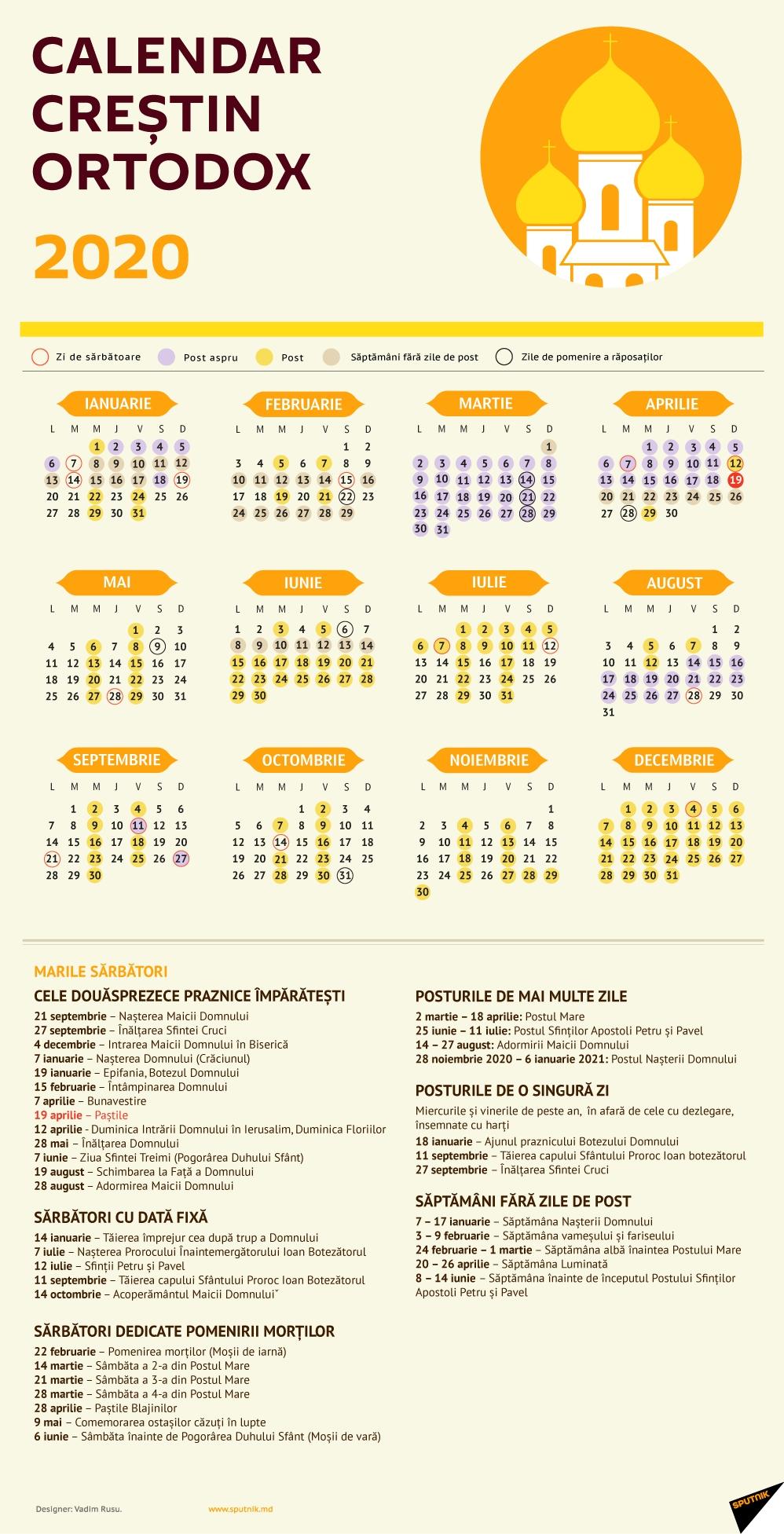 Calendar Creștin Ortodox 2020 - Sărbători Religioase