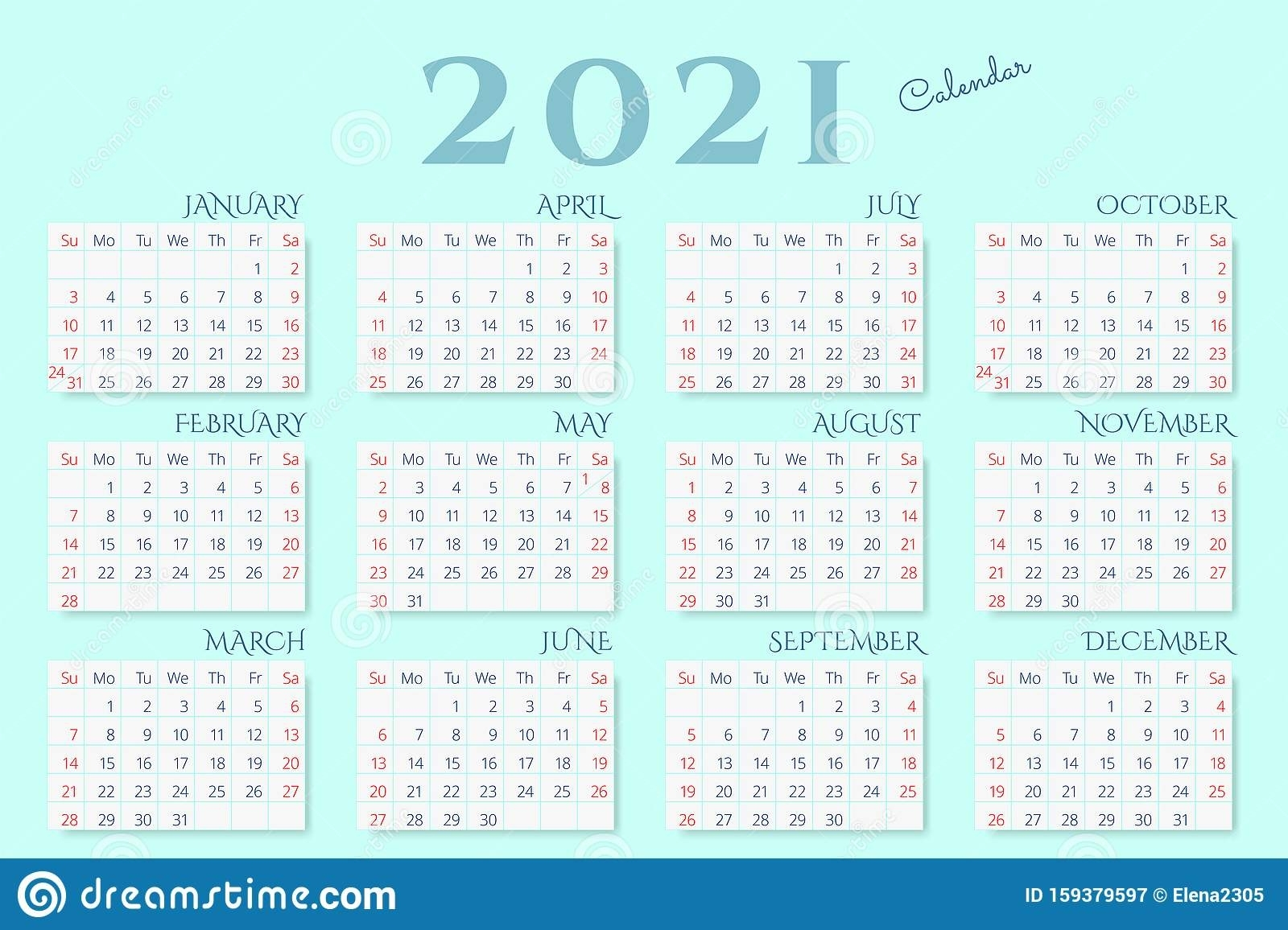 Calendar For 2021 Year On Mint Color Background Stock Vector