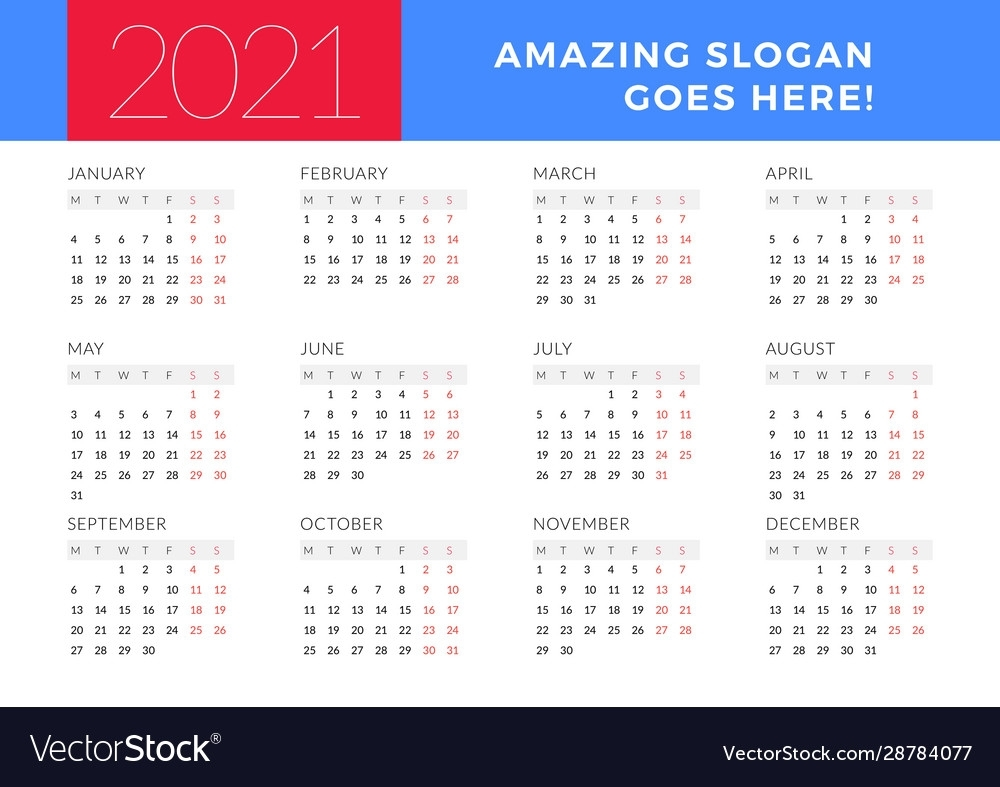 Calendar For 2021 Year Week Starts On Monday Vector Image