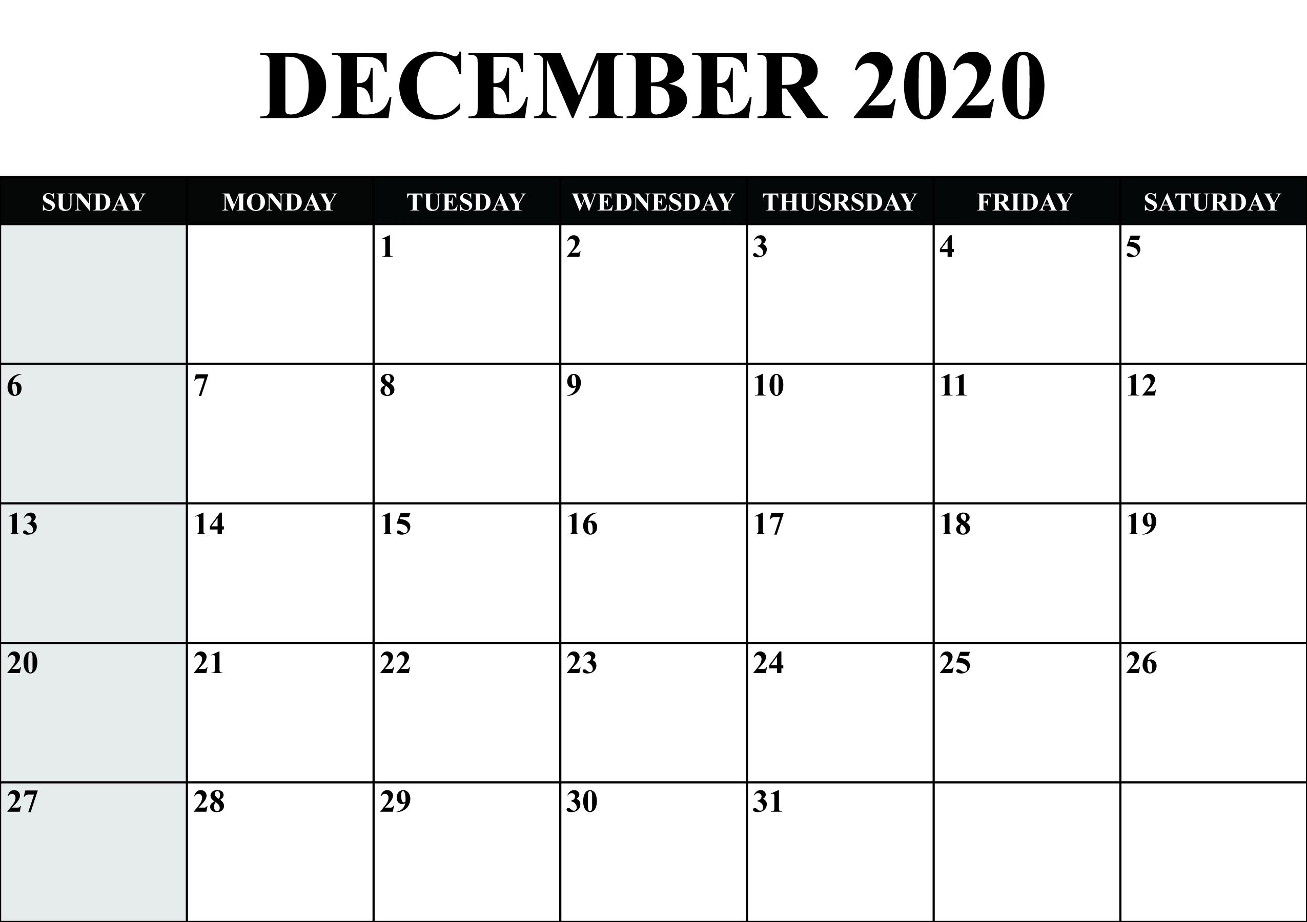 Calendar For December 2020   Monthly Calendar Printable
