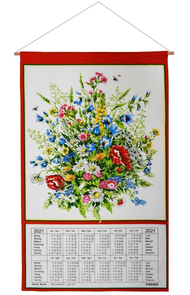 Calendar Kreier 2021 Flowers Linen