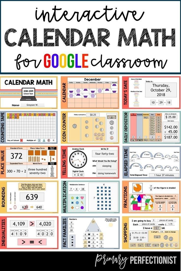 Calendar Math For Google Slides / Google Classroom Provides