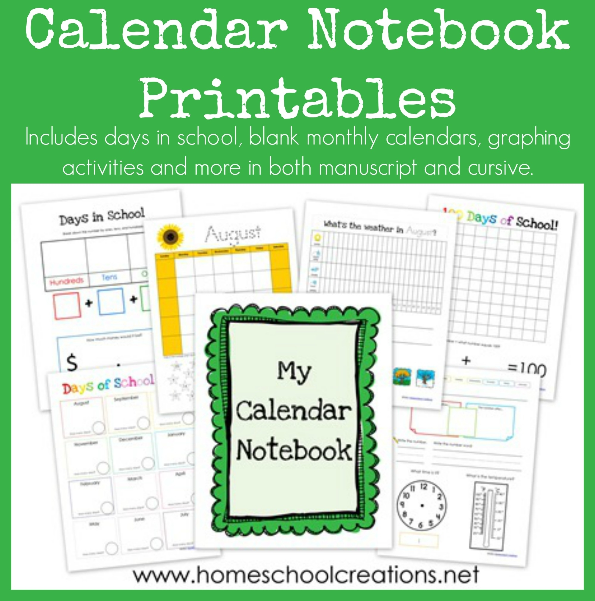 Calendar Notebook Binder Printables