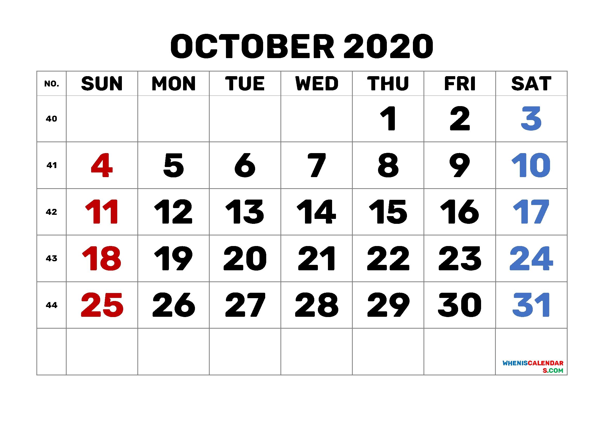 Calendar October 2020 Printable Free 6 Templates – Free 2020