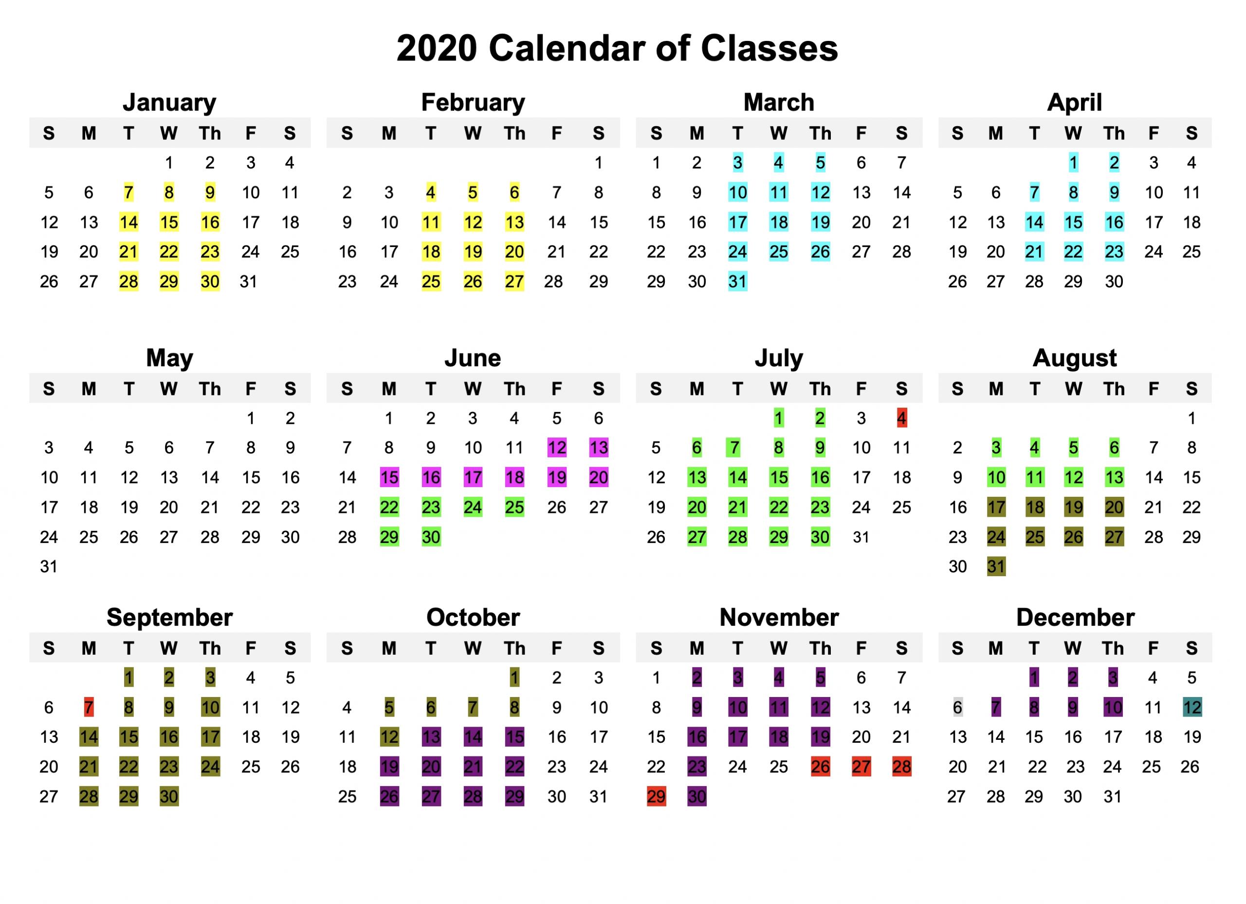 Calendar Of Classes - Sfclayworks