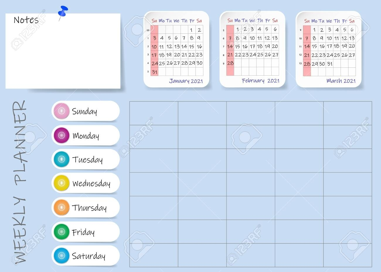 Calendar Of First Quarter Of 2021 Year With Weekly Planner Table..