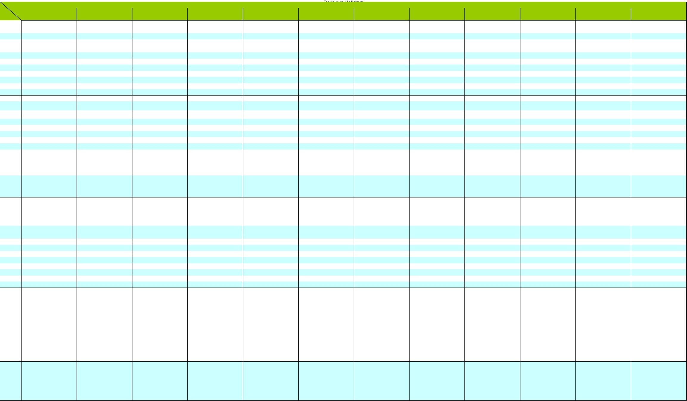 Calendar Of Harptos - [Xlsx Document]
