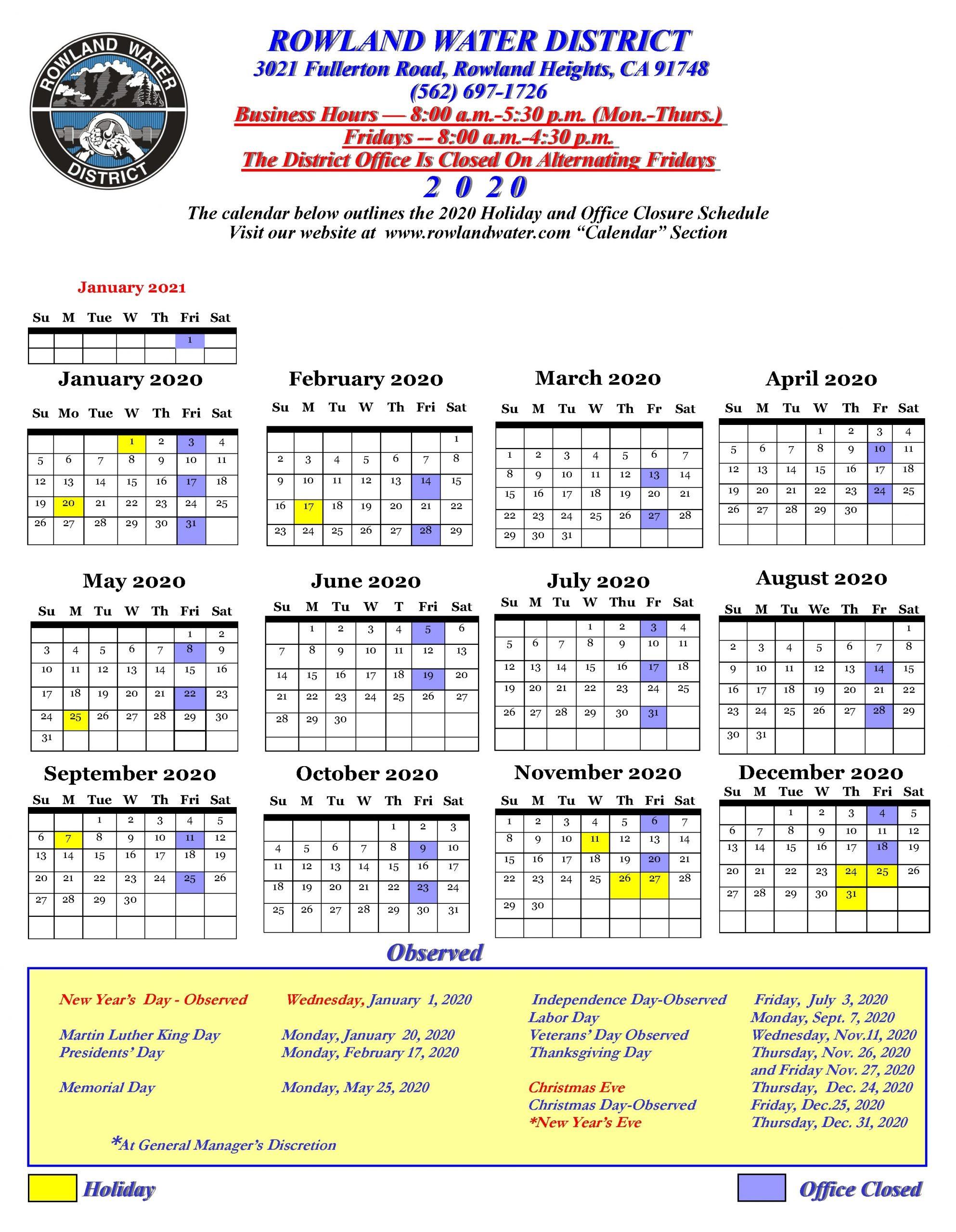 Calendar | Rowland Water District