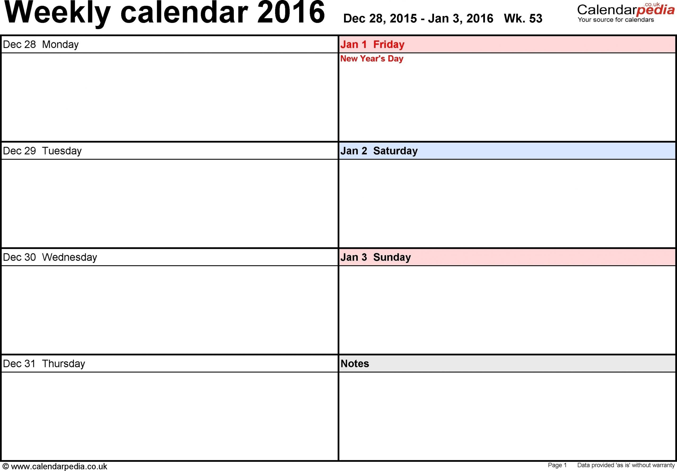 Calendar Template 1 Week In 2020 | Weekly Planner Template