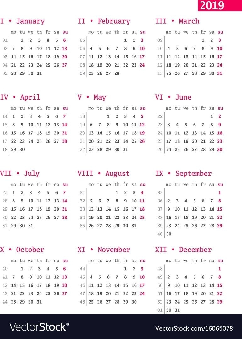 Calendar With Week Numbers In 2020 | Calendar Printables