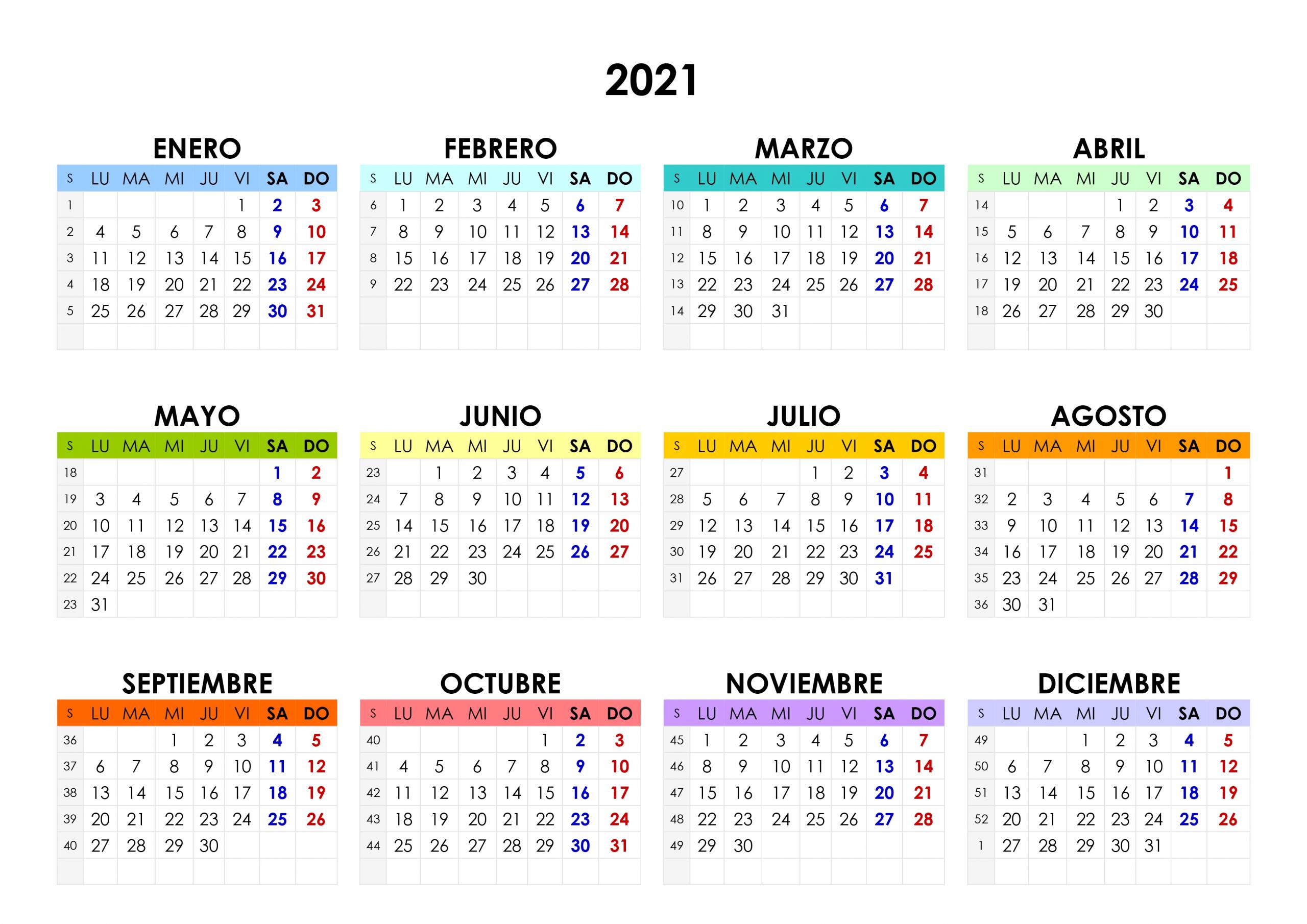 Calendario 2021 – Calendarios.su