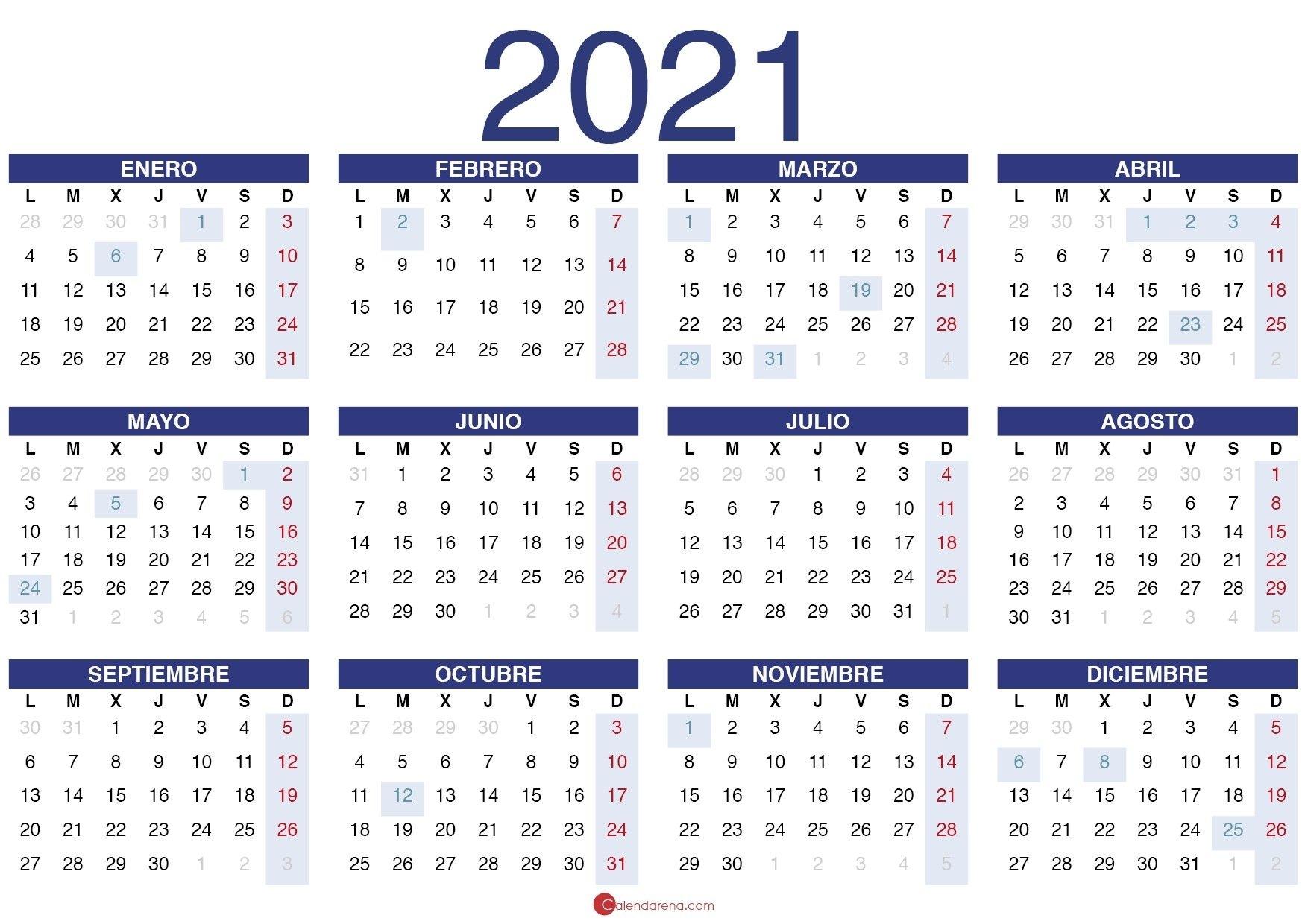 Calendario 2021 Pdf En 2020 | Calendario, Calendario Para