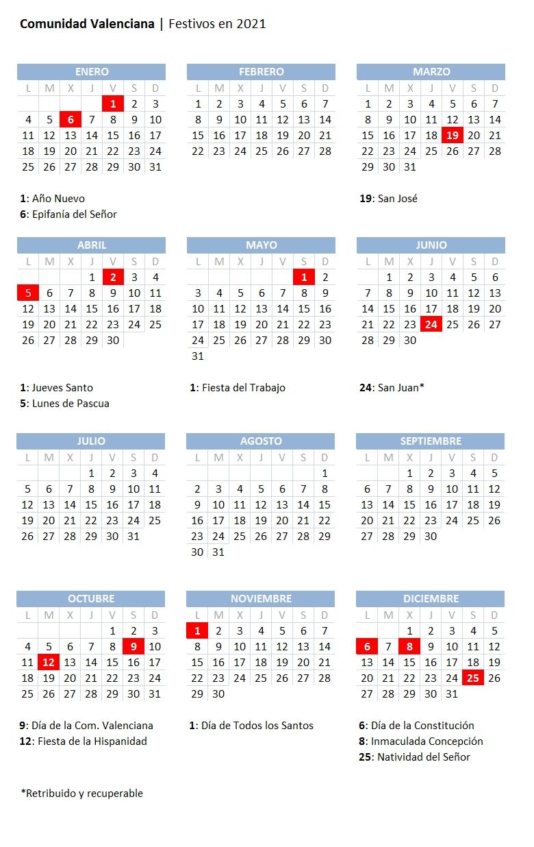 Calendario Laboral 2021 En Valencia: Consulte Aquí Los