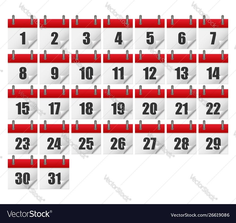 Calendars For All 31 Days A Month Calendar Vector Image