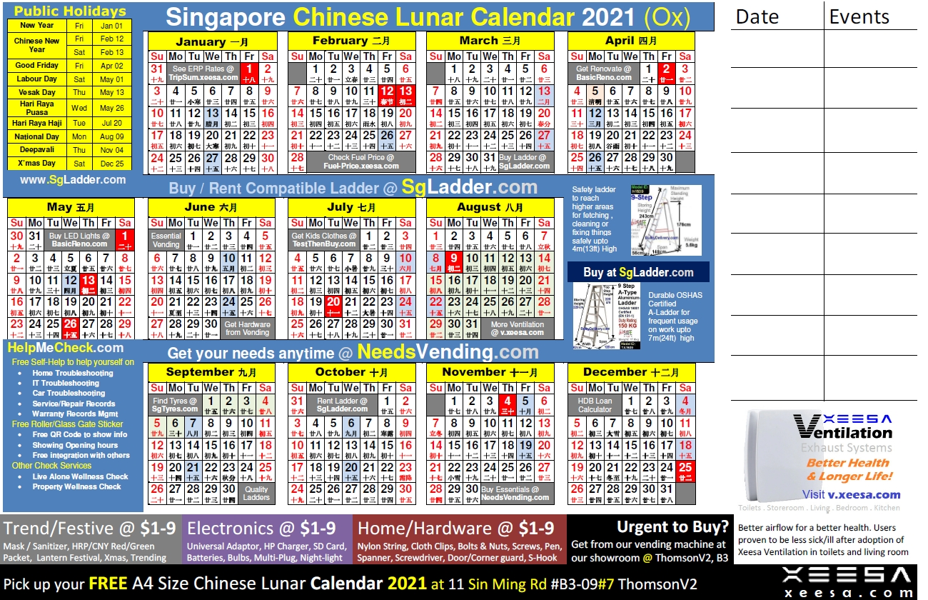 Chinese Calendar 2021 Singaporexeesa Services