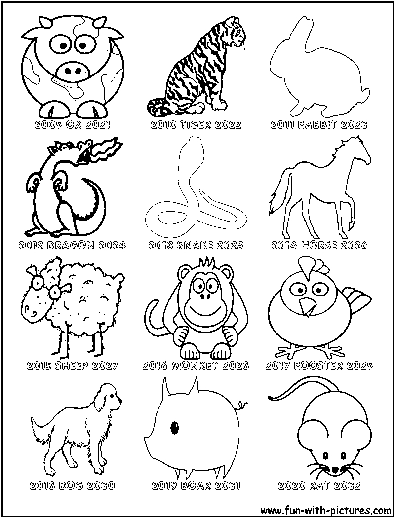 Chinese Zodiac Coloring Sheet | New Year Coloring Pages
