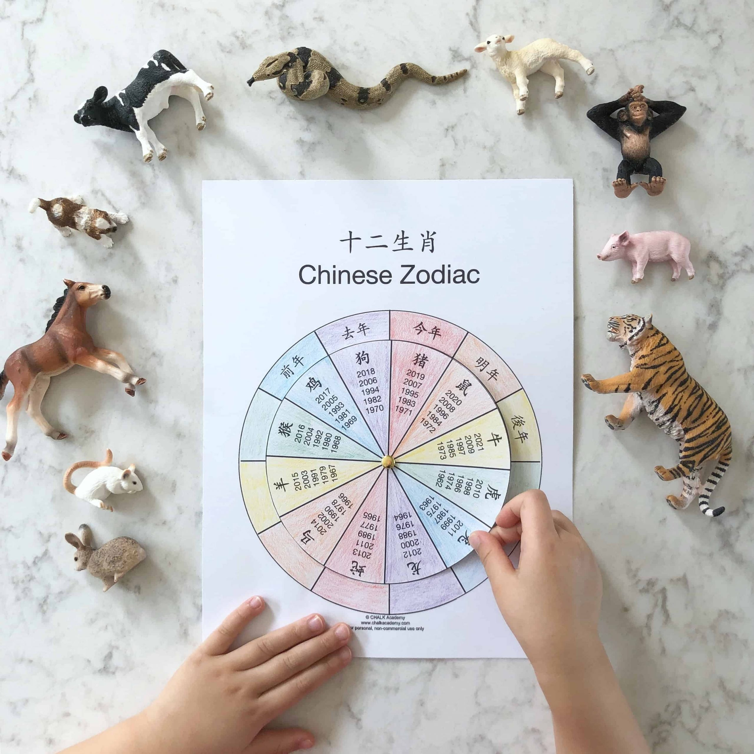 Chinese Zodiac Wheel - Free Interactive Printable In Chinese