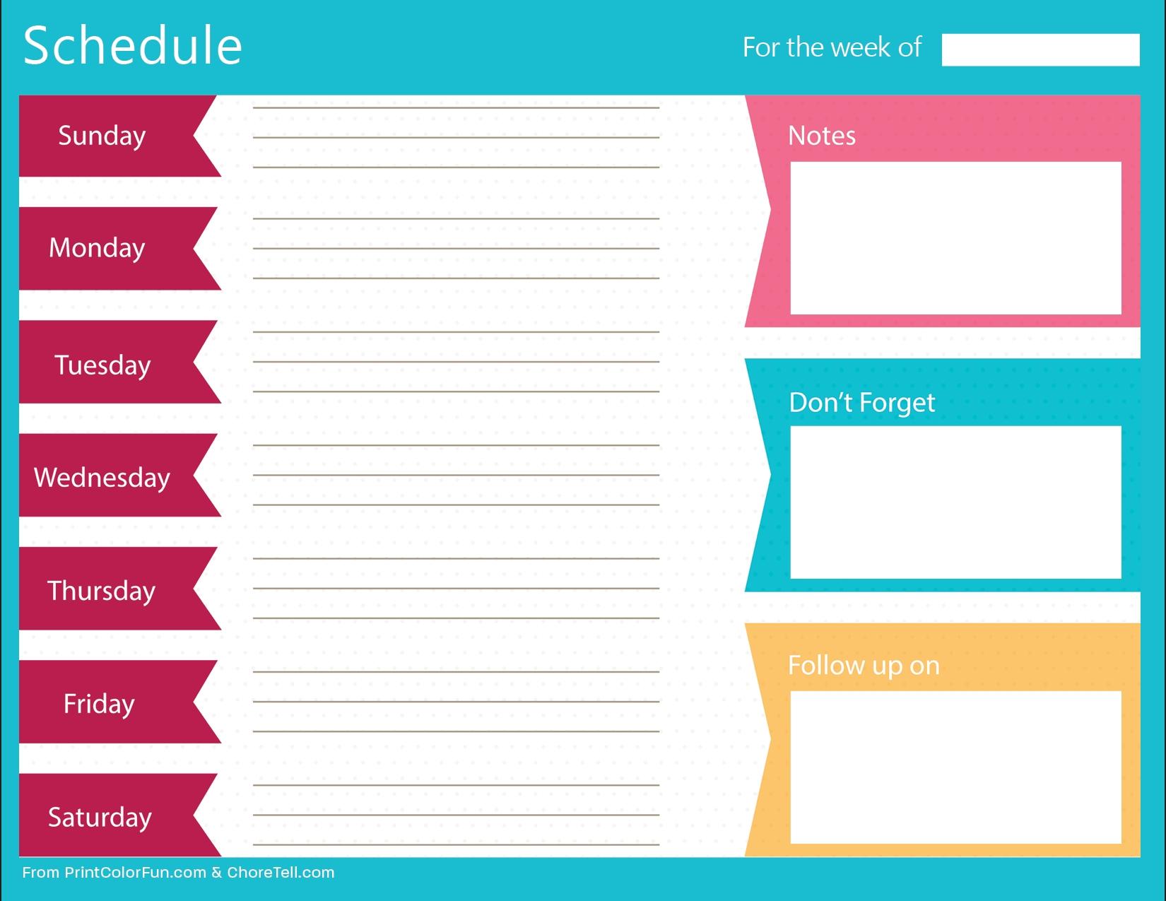 Clean, Bold Printable Weekly Schedule Planner - Free