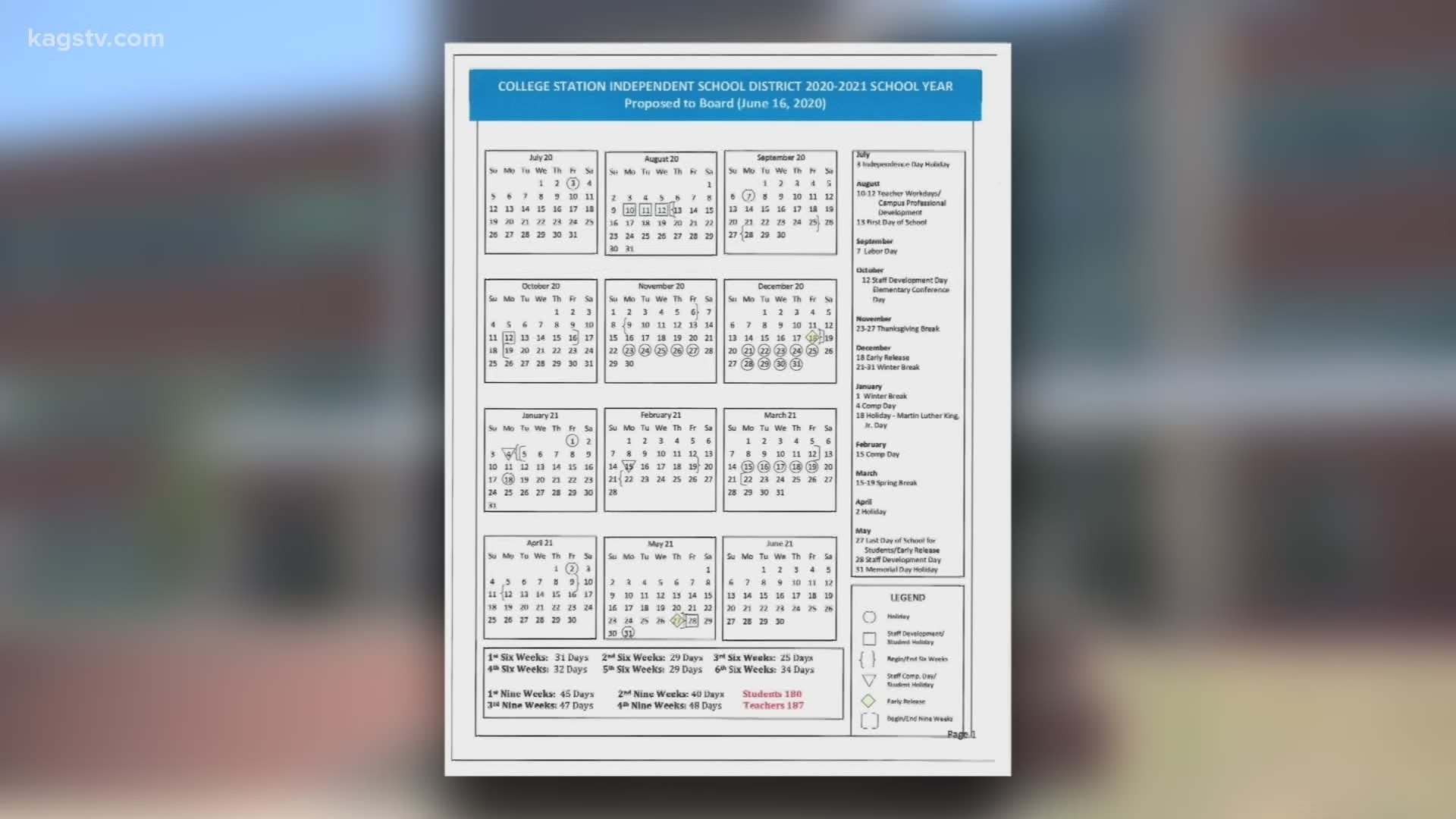 College Station Isd Adds More Days To 2020-2021 Calendar