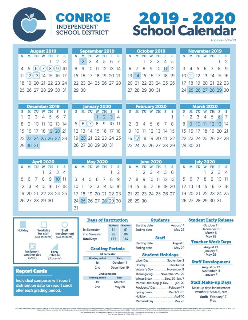 Conroe Isd Trustees Approve 2019-2020 School Calendar